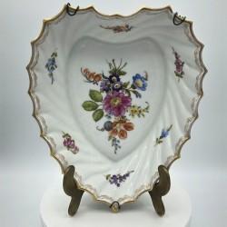 Ancien plat en porcelaine Allemande | Forme coeur