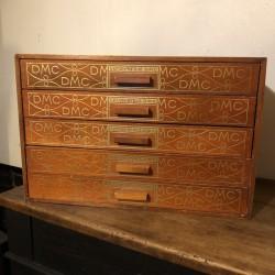 Ancien petit meuble DMC   5 tiroirs   En bois   Couture
