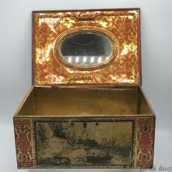 Old lithographed tin box | For biscuits or jewelry | Interior mirror