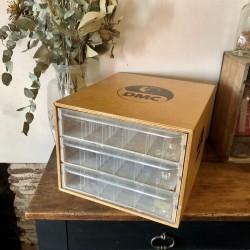 Old DMC furniture | In wood | 3 drawers | Haberdashery DMC
