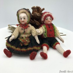 Antique biscuit porcelain miniature dolls | To suspend