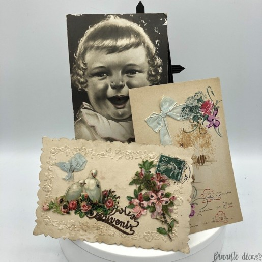 3 old fancy postcards | Baby, Remembrance, Friendship