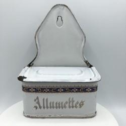 Ancienne boîte d'allumettes en tôle émaillée | Déco de cuisine vintage
