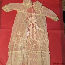 Old tulle dress embroidered with baptisms for baby or doll