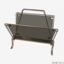 Vintage magazine rack in smoked glass | Interior decoration | Design