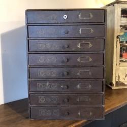 Ancien meuble de mercerie| 8 tiroirs | L.V. PARIS | Fil tête de cheval - J.T.P.F.
