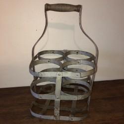 Ancien panier à bouteilles | 4 Casiers à bouteilles | En métal