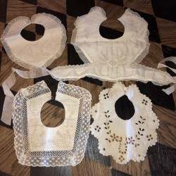 Lot of 4 old baby bibs with lace and embroidery