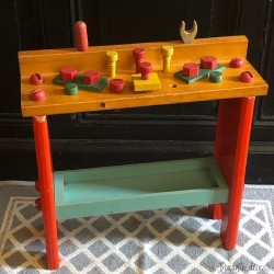 Old toy - wooden workbench