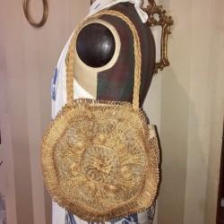 Ancien sac vintage | Porté bras ou épaule |En paille et jute