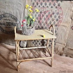 Old small console or side table | Vintage | In rattan | 60's