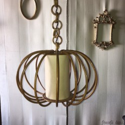 Old vintage chandelier | In rattan | 60's